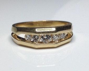 Estate 14K Yellow Gold 0.50 CTW Diamond Ring Band 6 Grams Size 9