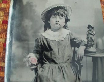 You're a Doll:  Large Antique Tintype Photograph of Young Girl With a Statue That Resembles Her