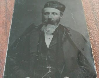 A Man of Distiction:  Antique Tintype Photograph of Bearded Gentleman