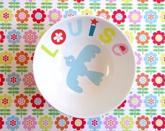 Personalized porcelain bird Bowl