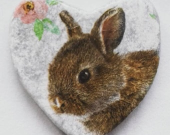 Rabbit coaster set, stone coasters, set of coasters, heart shape coasters, decoupage coasters, rabbit mug holders, bunny coasters,
