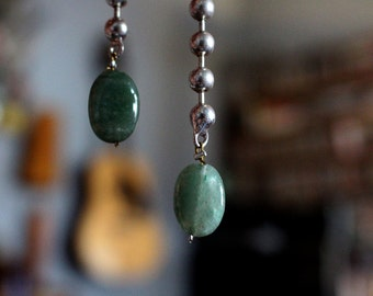 Sterling Silver and Adventurine Drop-down Earrings - semi-precious stones