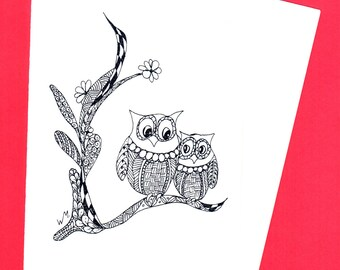 Owl: Special Friends - Own Zentangle Doodle Cards, nature, colouring craft