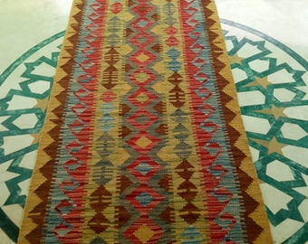 Article # 5301 12.4 Feet Long VEGETABLE DYED Hand Made Chobi Kilim Runner Rug Double Face Design 378 x 82 cm - 12.4 x 2.7 Feet