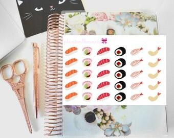 Sushi Lover (Salmon, Tuna, California Roll) Hand Drawn Erin Condren Planner Stickers