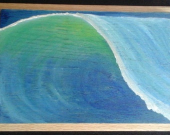 Sunlit Wave - acrylic on wood original painting