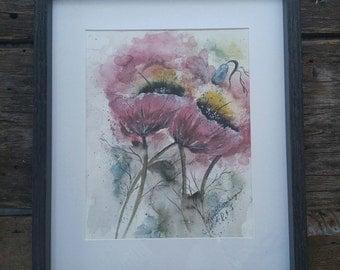 Red poppy original watercolor