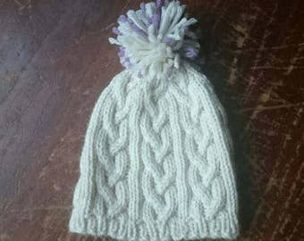 Braid Cable Baby Hat / knitted baby hat / hand knit baby hat / cable knit baby hat / knitted baby beanie