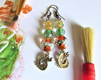 Orange and Green Glass Painted Beaded Earring Dangles with Painter's Charms, Artist Theme Bronze Hook Earrings