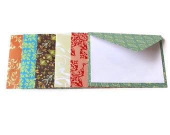 Assorted Fall Colored patterned Envelopes, Assorted envelopes, Blank cards, Set of 6