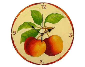 apple kitchen wall clock large silent handpainted glass painting fruit dining room decor unique