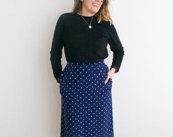 Vintage Navy Blue Over The Knee Skirt