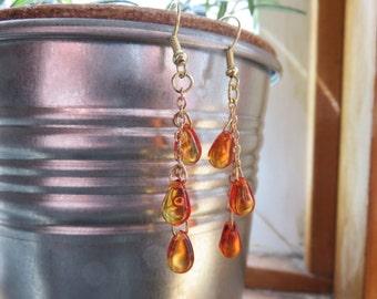 Fire Opal Orange Czech Glass Dangle Earrings