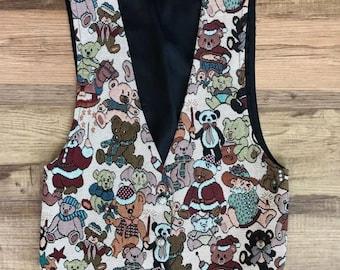 Vtg 90s teddy bear tapestry vest size small