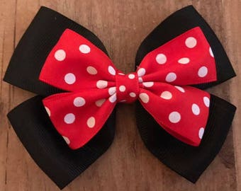 Butterfly bow red & white spotted