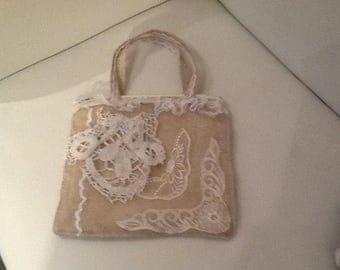 Antique crochet lace burlap handbag