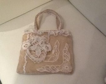 HandmadeBurlap and lace handbag