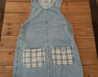 Vintage 90's Enuf Denim Jumper with Plaid Pockets Size Small