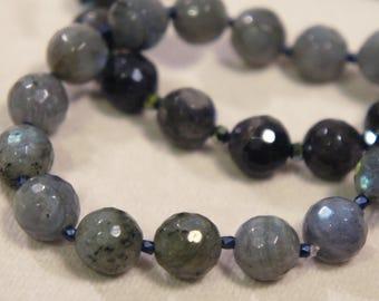Genuine Labradorite Faceted Bracelet Semi Precious Stone Gemstone Healing Crystal Chakra Metaphysical Gift