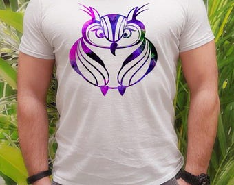 Purple owl t-shirt - Owl tee - Fashion men's apparel - Colorful printed tee - Gift Idea