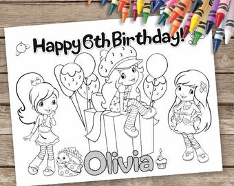 Strawberry Shortcake Coloring Pages, 6 Birthday Coloring Pages, Strawberry Shortcake Activity Sheet, Strawberry Shortcake Birthday