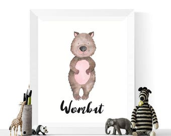Wombat Printable | Wombat Watercolor Printable | Australian Animals | Wombat Print | Watercolour | Animal Prints | Wombats