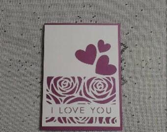 Romantic Card - Shimmering - White Overlay - Triple Rose