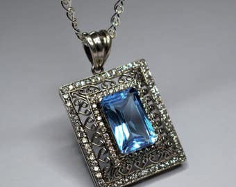 Pendentife Silver 925 set with Topaz blue and white Topaz