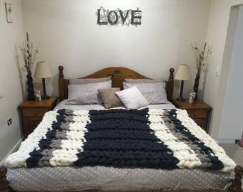 Chunky Knit Merino Wool Blanket, gift, chunky wool, handmade,chunky, Wool, Wool Blanket, Merino Blanket, Arm Knit, Knit, Knit Blanket