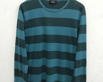 Apc Shirt Rare Vintage Apc Stripe Longsleeve  shirt Japan t Shirt Japan Fasion Designer Avante Garde Sz 2 Made in France