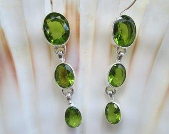 Peridot 925 Silver Earrings | Vintage | Drop Earrings| sterling silver