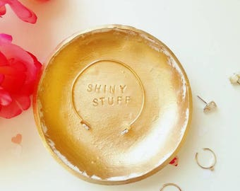 Personalized Jewelry Dish, Gold Jewelry Dish, Ring Dish, Jewelry Holder, Clay Jewelry Dish, Vanity Tray, Gift for Bride, Bridesmaid Gift