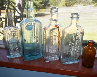Group of 5 Antique Medicine Bottles