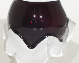 Blown glass overlay vase. Deep ruby top and white overlay base.