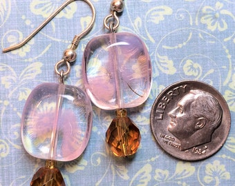 Pink, amber glass bead earring