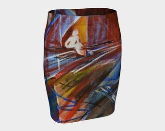 Skirt - Fitted Skirt - Pencil Skirt - Knit Skirt - Work Clothes - Wild Print Skirt - Abstract Skirt