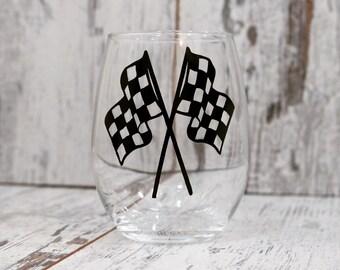 Checkered Flag's, Stemless Wine Glass, NASCAR Decor, Dirt Track Racing,Home Bar, Man Cave,Wine,Wine Glass,