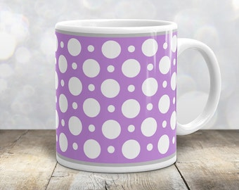Purple Polka Dot Mug - Stylish White Purple Polka Dot Pattern - 11oz or 15oz