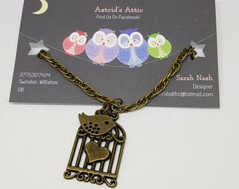 Bronze Plated Bird Cage Necklace