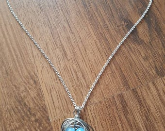 Wire Wrapped Opalite Birds Nest Necklace