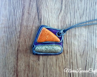 Polymer clay pendant with two beautiful beach stones, gift for her, boho jewelry, boho necklace, summer jewelry, stones, pebbles, boho chic.