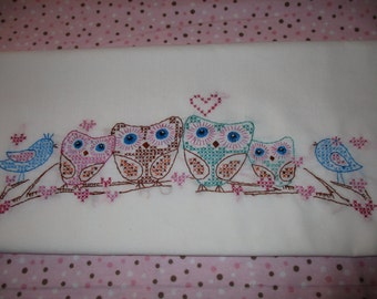 Hand Embroidery Owls pillow cases