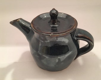 Hand thrown pottery teapot