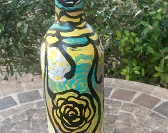 Hand painted bottle, beautful for decorating. Made with lots of love