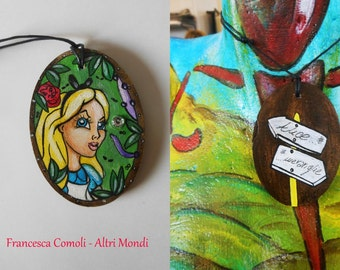 """Hand-painted wooden necklace """"Alice"""""""