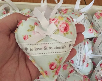 Handmade Hanging Heart - to love & to cherish - wedding favour - wedding gift