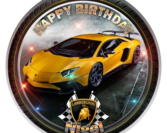 Lamborghini Personalised Edible Icing. Birthday Cake Topper Decoration 7.5""