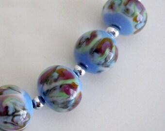 Hand Made Glass Beads - Blue, Green, Yellow, Brown, swirl