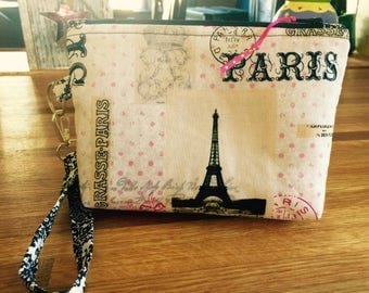 Cotton paris  themed fabric cosmetic bag/ wallet