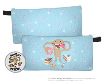 Uterus Zipper Pouch: HUNGRY UTERUS Sweet Tooth, pie, candy, chocolate chip cookies, sprinkle pink donut, cupcake